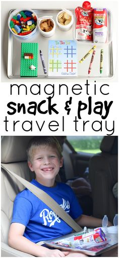 Magnetic Snack and Play Travel Tray:  The perfect road trip companion for kids of all ages.  Things won't slide or fall off of this travel tray!