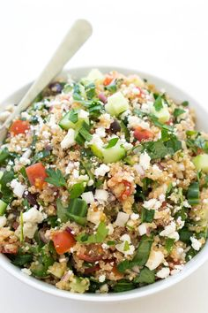 Greek Kale Quinoa Salad - sub cucumbers for the onion (for crunch) and its low FODMAP.  I would also add a little Feta.