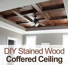 diy master bedroom stained wood coffered ceiling coffered ceiling stained wood wood