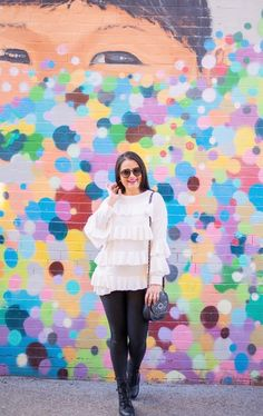 frills, faux leather pants, boston, mural