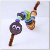 button craft worm/caterpillar/snake