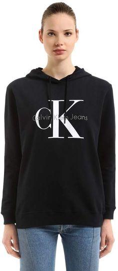 82ff650e7cc6 Hooded Logo Printed Cotton Sweatshirt Calvin Klein Jeans