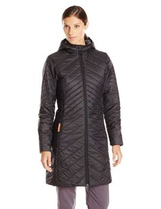 Icebreaker Women's Stratus 3Q Jacket, Black/Monsoon/Black, X-Small. Interior cozy cuff for warmth and protection. Crewe neck shape. Internal Storm flap. Adjustable shaped hood with elastic binding for warmth and protection. Icebreaker pip label and pure plus logo.