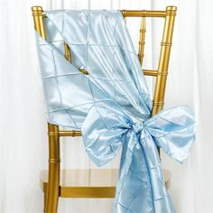 Serenity Blue Pintuck Chair Sash | eFavorMart / Pintuck is actually a fold of fabric that is stitched intricately to hold it in a place, very much like a pleat. These lovely pleats impart a decorative effect to the fabric by fashioning a visual line at a chosen point. They effortlessly bridge vintage and contemporary styles to create a majestic new classic look. If you do not want your celebration to blend in with other weddings, birthdays, and anniversaries, try our premium quality pintuck…