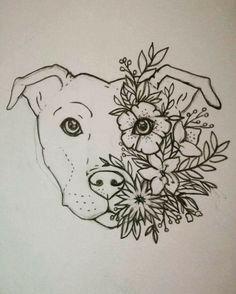 Turn this into a lotus tattoo! Staffy tattoo Staffordshire bull terrier Floral Flower tattoo Women Tattoo design & Model for this into a lotus tattoo! Pitbull Tattoo, Dog Tattoos, Tattoo Drawings, Body Art Tattoos, Art Drawings, Art Sketches, Cat And Dog Tattoo, Tatoos, Corgi Tattoo