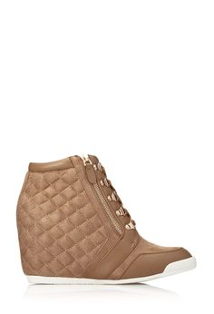 Pretty-Tough Wedge Sneakers | FOREVER21 Elevate your look #Wedges #Quilted #FauxSuede