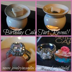 Th ring that came in my Birthday Cake tart!! Gorgeous!!!  I will treat YOU to a discount because Easter is coming up and it would be springtime festive! Go to www.jewelryincandles.com/store/angiekhalaf (my online store, you will see my picture) and use the discount code of Easter2014 to get yoru exclusive Pinterest follower 25% off!! LIMITED TIME!! Only good through Sunday!