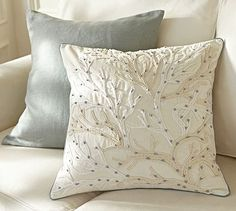 Coral Embroidered Pillow Cover Potterybarn  More beautiful seascape pillows