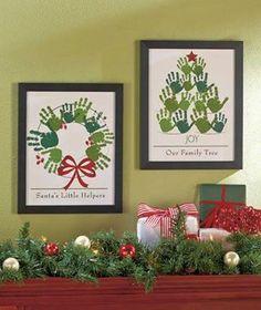 Handprint wreath and Christmas tree