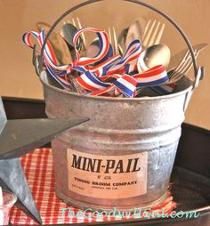 Mini galvanized pail $1.99 from #Goodwill filled with silverware for #patriotic #buffet.  #4thofJuly #summer