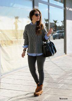 BLUE & GRAY - Womens Fashion Clothing at Sheinside.com