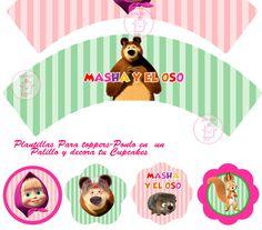 Kit Imprimible Masha Y El Oso Diseña Tarjetas Y Mas - Bs. 149,19 en MercadoLibre