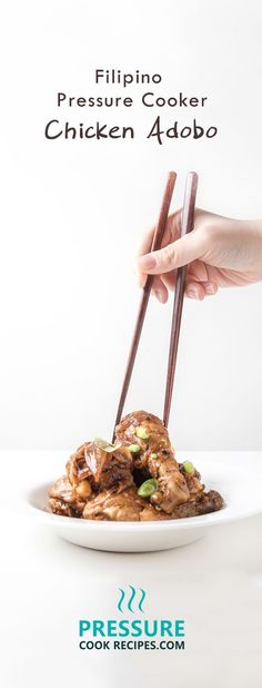 10 mins prep for this Filipino signature pressure cooker chicken adobo. A burst of sweet, savory, and sour flavors wrapped with a kick of spice. Frugal, super easy to make, and just perfect over rice. http://pressurecookrecipes.com