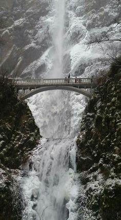 Multnomah falls in winter Multnomah Falls, Four Seasons, Waterfalls, Oregon, Frozen, Wanderlust, Ice, Country, Places