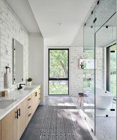 Best modern bathroom lighting design photos and ideas - dwell Modern Master Bathroom, Modern Bathroom Design, Master Bathrooms, Contemporary Bathrooms, Contemporary Style, Decor Inspiration, Bathroom Inspiration, Bathroom Ideas, Shower Ideas