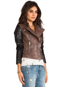 KENNA-T Leather Two Tone Moto in Brown/Black