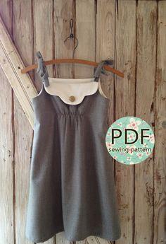 Annie - Vintage Style Girl Kleid Muster PDF Tutorial, Mädchen nähen Muster einfach nähen Größen 12m durch 8 enthalten