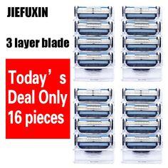 [Visit to Buy] 16pcs/lot  wholesale Razor High Quality Men's 3 layer Razor Blades Shaver Blades Shaving Blades Standard for RU&Eu US #Advertisement