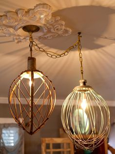 Pinned for the GIANT whisks!  Industrial-sized bakery whisks are whipped into a stylish pair of pendants.