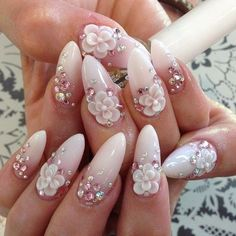 Even if you'd like to engrave the letters in little dimensions, don't wait. Weddings and exclusive occasions have increased the usage of plastic nails alongside nail art and even a French manicure. New Year's Nails, 3d Nails, Cute Nails, Pretty Nails, Acrylic Nails, Bridal Nails, Wedding Nails, 3d Flower Nails, 3d Nail Designs