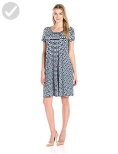 Lark & Ro Women's Short Sleeve Scoopneck T-Shirt Dress, Navy/Turq Floral Globe Border, Medium - All about women (*Amazon Partner-Link)