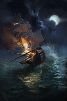 ship on fire by mattdonnici on DeviantArt Fire Drawing, Boat Drawing, Ship Drawing, Sea Storm, Composition Art, Ghost Ship, Still Life Drawing, Ocean Wallpaper, Ship Paintings
