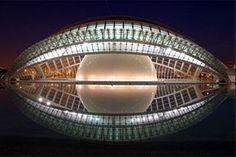 'Le Hemesferic' at night, located in the City of Arts and Sciences, Valencia, Spain, 1998 Architect: Santiago Calatrava