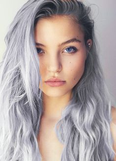 Pastel purple violet grey hair (photoshoped)