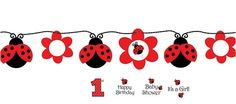 """LadyBug Fancy Circle Banner with stickers.  The cute ladybugs in this design make for a fun celebration! This adorable party banner is great for decorating doors and walls, keeping the ladybug themed party atmosphere festive.  Customise your banner! Stickers included: '1st',  """"It's a Girl"""", """"Happy Birthday"""", """"Baby Shower""""  Banner: 1.67m long"""
