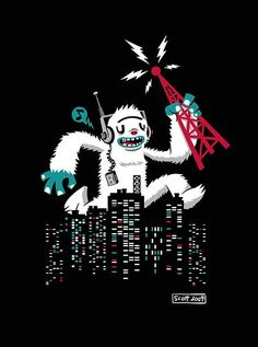Tune in to Yeti-Rock by cronobreaker on DeviantArt Monster Illustration, Music Illustration, Monster Co, Classic Monsters, Cryptozoology, Quick Sketch, Little Monsters, Types Of Art, Cartoon Styles