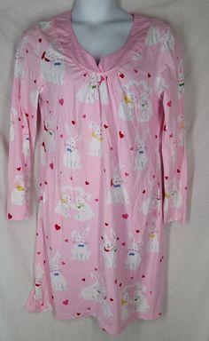 Nick & Nora size XL Pajama sleep shirt pink bunny rabbit heart valentines  #NickNora #Sleepshirt Nick And Nora, Sleep Shirt, Bunny Rabbit, Floral Tops, Pajamas, Valentines, Blouse, Heart, Pink