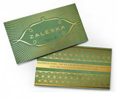 gold foil on green business cards