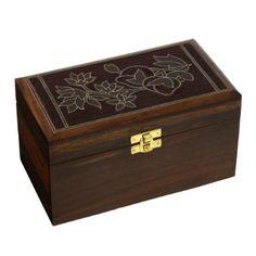 indischer Schmuck-Box für Frauen florale Schnitzerei Draht Intarsien Holz groß: ShalinCraft: Amazon.de: Schmuck