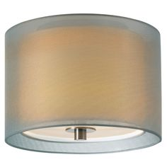 This disc shaped ceiling light consists of two concentric shades and a metal ceiling fixture. The outer shade, which is made of silver or bronze organza and the inner shade, which is made of white linen, diffuses light emitted from three 18w SBCFL bulbs. The ceiling light is offered in different dimensions in satin nickel and black brass finishes. - Olighting