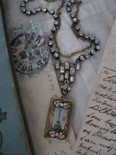 ON RESERVE Speaking French... vintage assemblage necklace