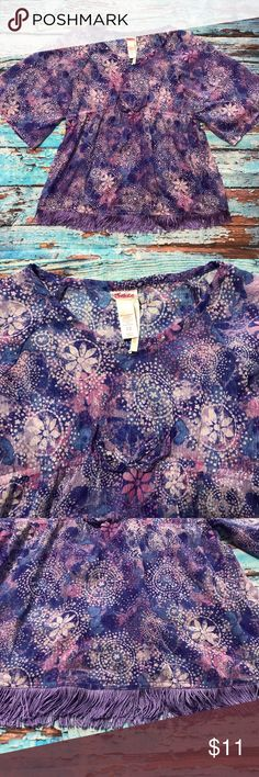 """Justice Batwing Blouse Purple Sparkle Glitter Justice Batwing Blouse Purple/Multicolored Sparkle Glitter Geometric Patterns with Elastic Around the Chest Area.  Brand: Justice Colors: Purple/Multicolored Glitter Size: 12 on tag label Material: 100% Polyester  Measurements Armpit to Armpit: 14 1/2"""" x2 Sleeve Length: 12 3/4"""" Length: 21 1/2 Justice Shirts & Tops Blouses"""
