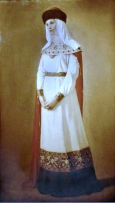 Russian costume in painting. Evgeny A. Demakov. Russian Princess. 1993. #art #painting #Russian #costume