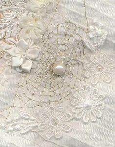 I ❤ crazy quilting, beading & embroidery . . . Spider and web ~By Vivienne Garforth