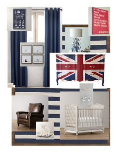 Navy and red boys Nursery Inspiration. Featuring Union jack dresser used as changing table, Curtains, rug, leather club chair, and crib from Restoration Hardware.