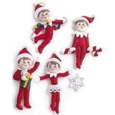 "Bucilla Elf On The Shelf Scout Elf Ornaments Felt Applique Kit-5""X5"" Set Of 4"