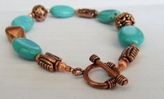 Turquoise and copper bead bracelet with toggle clasp