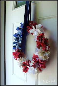 Love this wreath made from scraps and a wire hanger