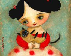 SIAMESE cat folk art PRINT cute nursery room wall decor of girl and cat print of an original painting by tascha Crazy Cats, I Love Cats, Illustrations, Illustration Art, Art Fantaisiste, Art Mignon, Valentine Cupid, Frida Art, Image Chat