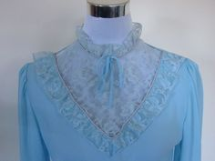 VINTAGE authentic vintage 60s/70s retro sky blue lace high collar lolita secretary dress (equiv size us 4 uk au nz 8 eu 36) by shopblackheart on Etsy