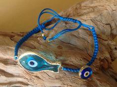 Evil eye bracelet, macrame bracelet, fish, fish charm, Greek, blue glass, blue evil eye, lucky eye, good luck charm, turquoise bracelet by hippiefishbeachart on Etsy