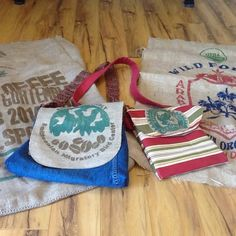 It's all about coffee (bags)!  I feel like a barista, but instead of an espresso maker my muse is my sewing machine.  Three bags made these awesome burlap coffee sacks so far, one is listed, and more neat hand-crafted goods to come.