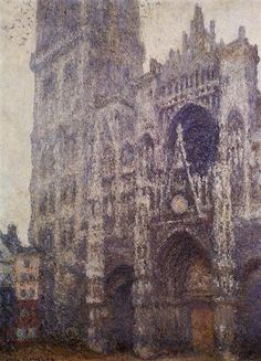 Claude Monet, Rouen, Cathedral, The Portal and the Tour d'Ablene, Grey Weather, 1894 Painted Gray | Paint Watercolor Create http://paintwatercolorcreate.blogspot.com/2014/11/painted-gray.html