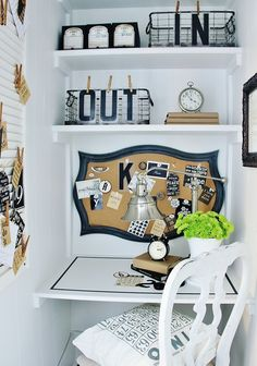 this entire small office nook is amazing but I love those in and out baskets with the letters clipped on