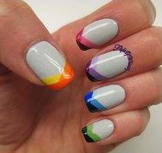 Braided Tips - multicolored nail design