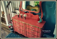 The Turquoise Iris ~ Vintage Modern Home: Coral French Provincial Dresser & Mirror